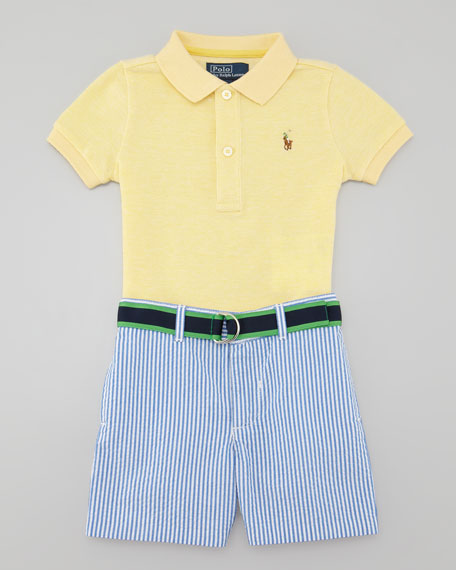 Polo Shirt & Seersucker Shorts Set