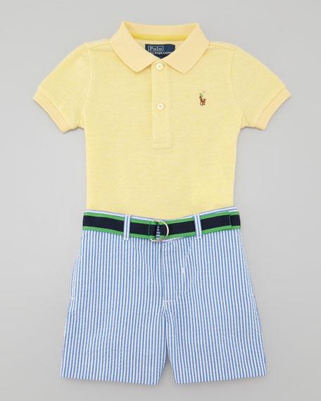 Polo Shirt & Seersucker Shorts Set