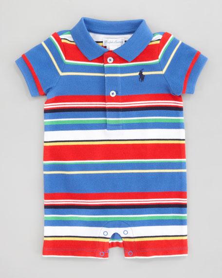 Run-On Stripe Shortalls, Blue Multi