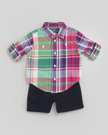 Matlock Plaid Shirt & Navy Shorts, Sizes 3-9