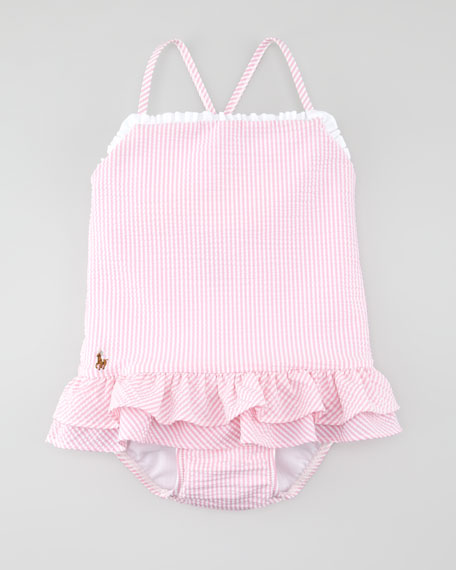 Pink Seersucker One-Piece Swimsuit, 12-24 mo.