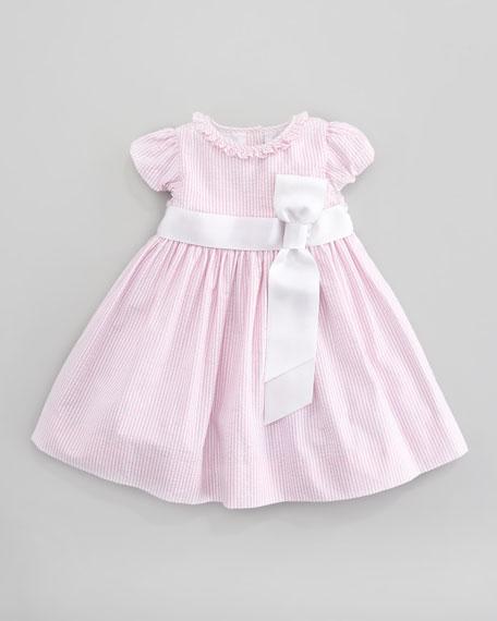 Short Sleeve Seersucker Dress, Pink