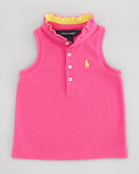 Sleeveless Polo Shirt With Ruffle Collar, Sizes 12-24 mo.