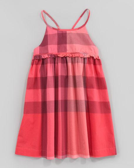 Check Halter Sundress, Pomegranate Pink