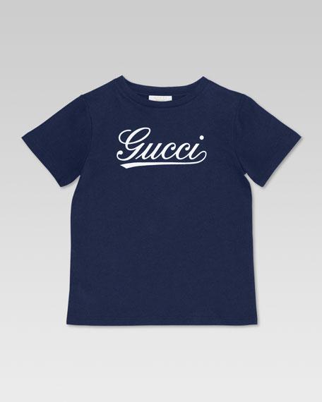Gucci Script Tee, Blue/Light Blue