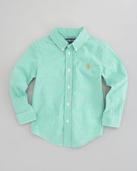 Blake Long Sleeve Gingham Shirt, Green Multi, Sizes 8-10