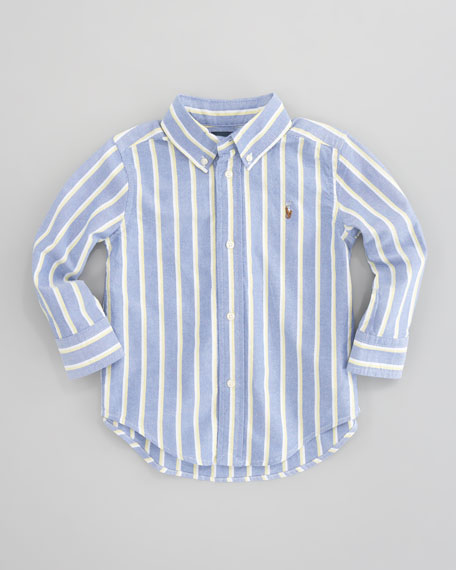 Blake Long-Sleeve Striped Oxford Shirt, Blue/Multi, Sizes 8-10