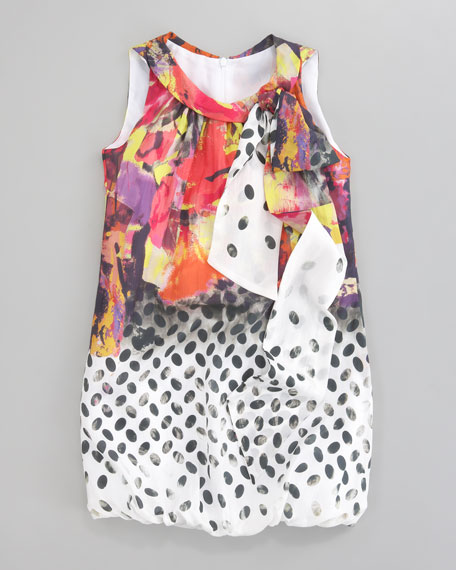 Mixed-Print Chiffon Bubble Dress, Sizes 8-10