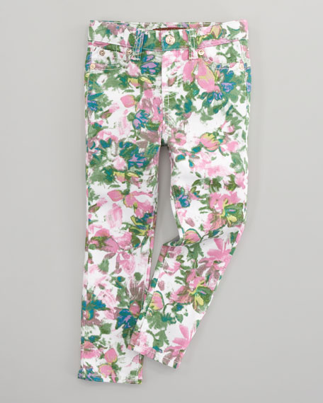 The Skinny Kauai Floral-Print Jeans, Sizes 2T-3T