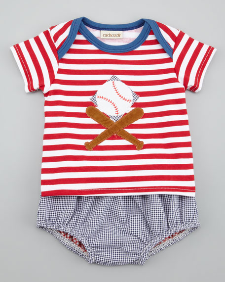 Ballpark Striped Tee & Seersucker Check Diaper Cover Set
