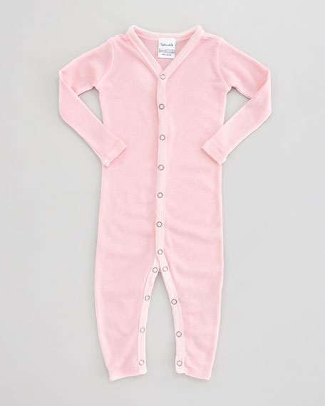 Solid Snug-Fit Playsuit, Pink Ribbon