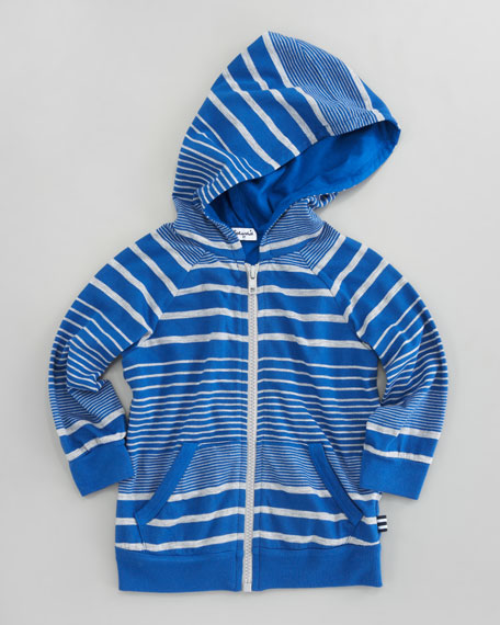 Border-Striped Zip-Front Hoodie