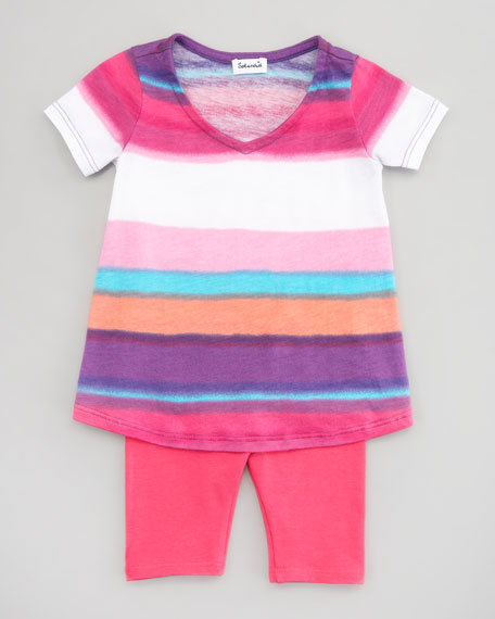 Watercolor Stripe Tunic & Leggings Set