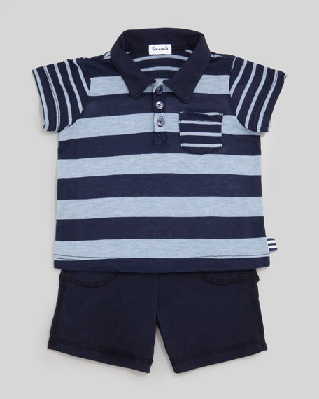Chambray Mix Stripe Slub Polo & Shorts Set, Sail Blue