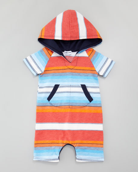 Multi-Striped & Dash-Striped Hooded Playsuit