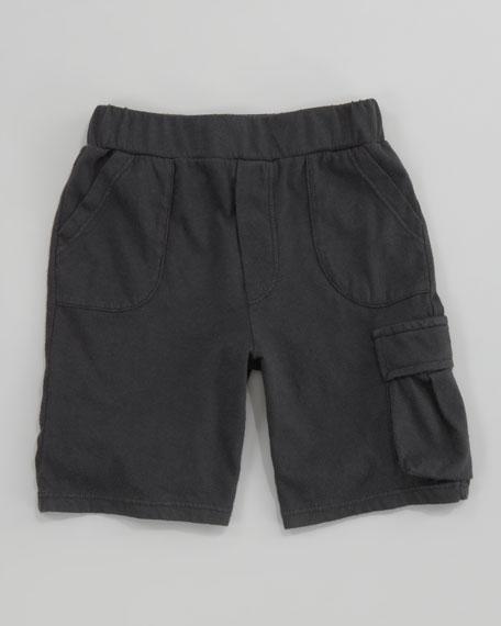 Jersey Cargo Shorts, Dark Grey