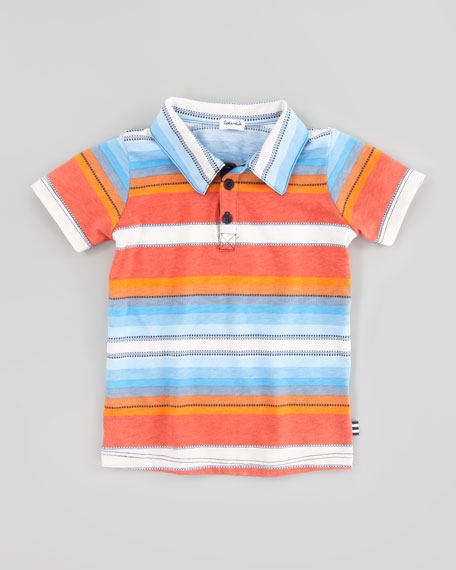 Multi-Striped & Dash-Striped Jersey Polo, Sizes 4-6X