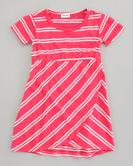 Double French-Stripe Tulip Dress, Flamingo