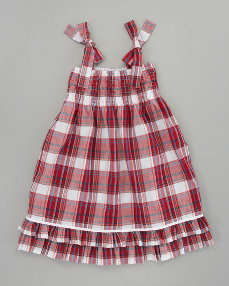 Sara Madras Plaid Dress, Red