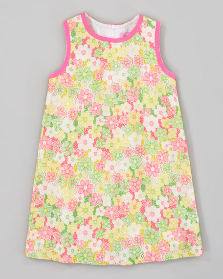 Sunbonnet Lace Little Lilly Classic Shift Dress, Yellow/Pink