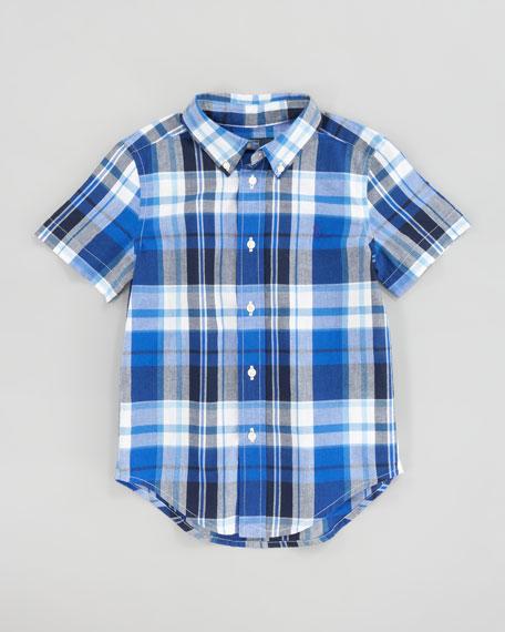 Orange Blake Short-Sleeve Plaid Shirt, Sizes 8-10