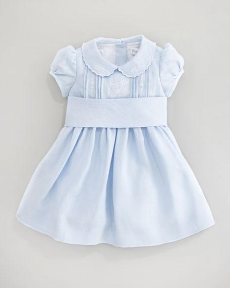 Floral-Embroidered Dress, Beryl Blue