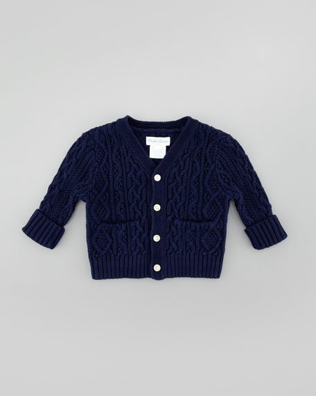 V-Neck Cable-Knit Cardigan, French Navy
