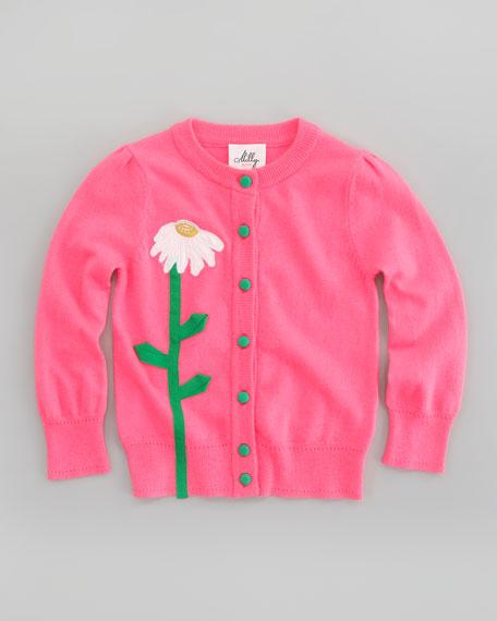 Flower Long Sleeve Cardigan, Sizes 2-7