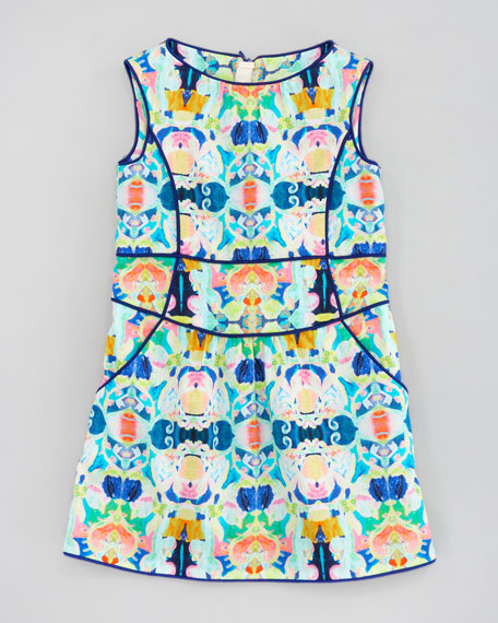 Romy Kaleidoscope-Print Piped Sheath Dress, Sizes 8-10
