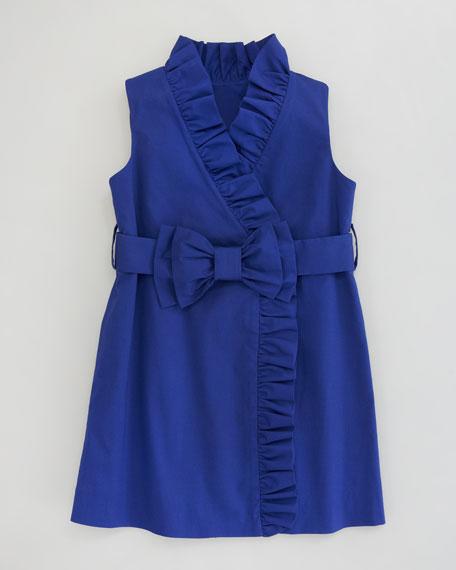 Stretch-Cotton Ruffled Wrap Dress, Sizes 8-10