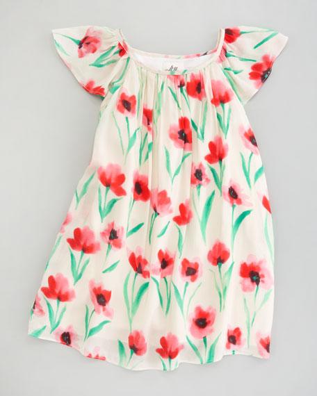 Jesse Poppy Print Gathered Dress, Sizes 2-6