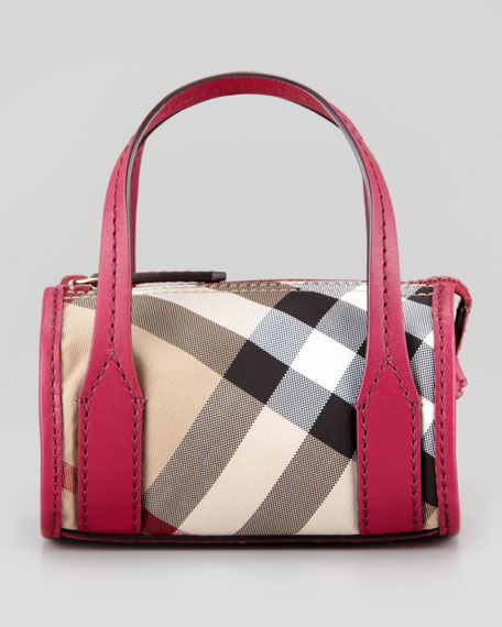 Girls' Check Leather-Trim Bowling Bag, Rhubarb Pink