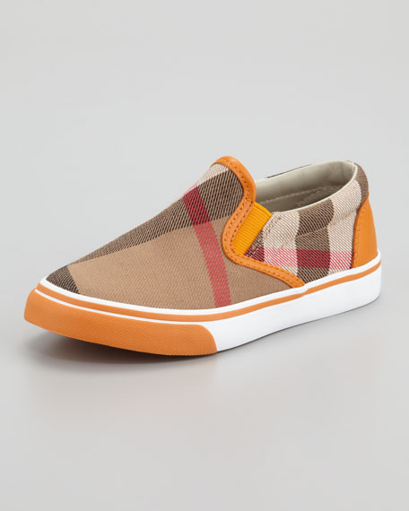 Orange Check Slip On Sneaker, Toddler