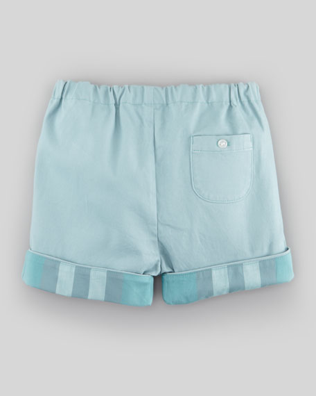 Twill Shorts with Check Facing, Pale Green Opal