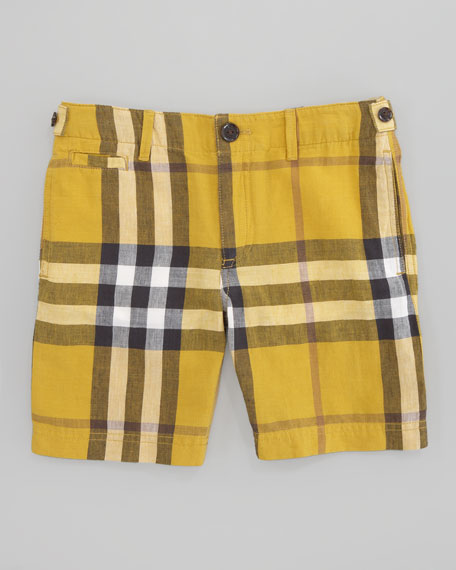 Mini Workwear Check Short, Gorse Yellow