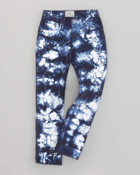 Tie Dyed Crayon Skinny Denim Jeans, Ocean Blue