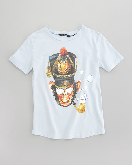 Monkey General Graphic Tee, Sky Blue