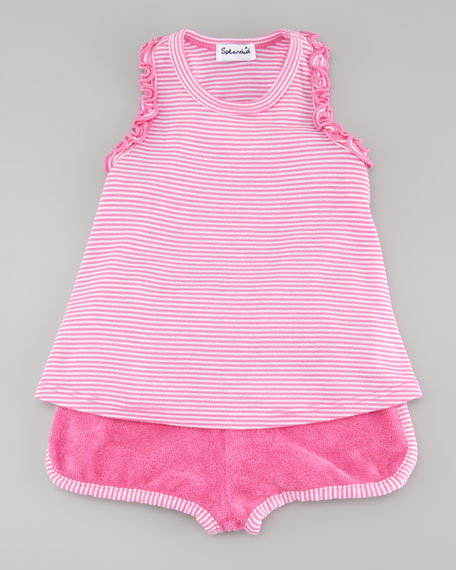 Striped Tank & Dolphin Shorts Set, Parfait/Bright Pink