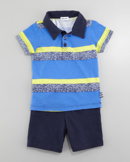 Asher Striped Polo & Shorts Set, New Port Blue