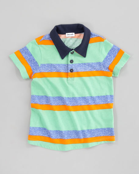 Asher Striped Short Sleeve Polo Shirt, Vintage Kelly