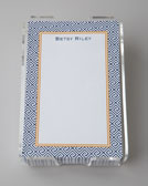 "Boatman Geller Navy ""Greek Key"" Notepad & Holder"