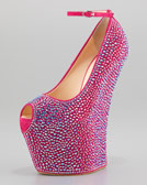 Giuseppe Zanotti Crystal-Covered Exaggerated Wedge Platform Pump