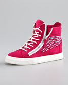 Giuseppe Zanotti High-Top Crystal-Panel Sneaker, Fuchsia