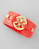Tory Burch Logo Double-Snap Cuff, Red
