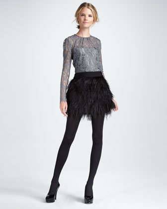 Ostrich-Feather Miniskirt - :  black skirt