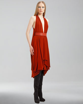 Akris Plunging Jersey Dress - Neiman Marcus