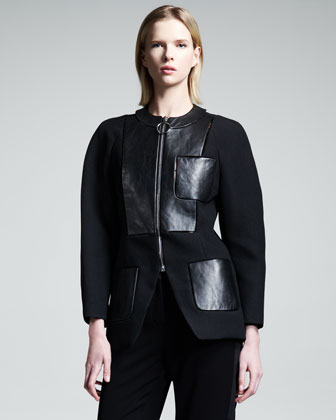 Leather-Panel Zip Jacket
