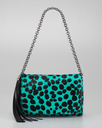 Jaz Large-Spotted Calf Hair Shoulder Bag, Emerald - Neiman Marcus from neimanmarcus.com