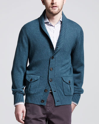 Cashmere Shawl-Collar Cardigan, Teal