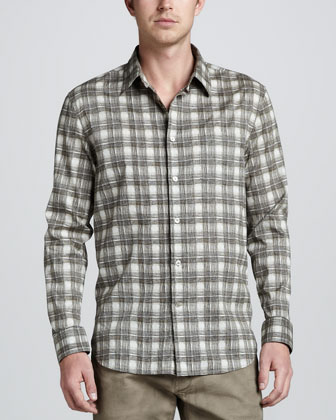 Check-Print Long-Sleeve Shirt, Khaki
